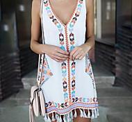 economico -Per donna Abito linea A Mini abito corto Bianco Giallo Blu Reale Senza maniche Nappa Primavera estate A V caldo Boho abiti da vacanza 2021 S M L XL XXL 3XL 4XL 5XL