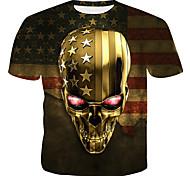 economico -Per uomo maglietta Pop art 3D Teschi Con stampe Top Oro