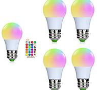 abordables -5pcs 3 W Ampoules LED Intelligentes 200-250 lm E26 / E27 1 Perles LED SMD 5050 Elégant Intensité Réglable Commandée à Distance RGBW 85-265 V / RoHs / FCC