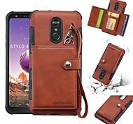 abordables -Coque Pour LG LG Q Stylus / LG Stylo 4 Portefeuille / Porte Carte / Antichoc Coque Couleur Pleine Flexible faux cuir