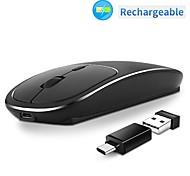abordables -modao e68 métal rechargeable 2.4g silencieux silencieux clic souris optique sans fil avec récepteur usb et adaptateur c usb