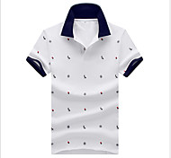 abordables -Homme Polo Pois Hauts Coton Blanche Bleu Bleu Roi