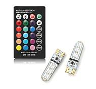 abordables -1 set 2 W Ampoules LED Intelligentes 250 lm T10 T10 6 Perles LED SMD 5050 Commandée à Distance Multicolores 12 V