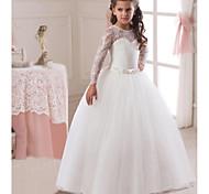 abordables -Princesse Longue longueur Mariage / Première communion Robes de demoiselle d'honneur - Dentelle / Satin / Tulle Manches Longues Bijoux avec Dentelle / Ceinture