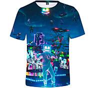 abordables -Enfants Garçon T-shirt Tee-shirts Manches Courtes Anime Imprimé 3D Enfants Printemps été Hauts Actif Bleu