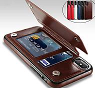 abordables -étui pour iphone xs / iphone xr / iphone xs max avec support / antichoc / pochette arrière solide couleur PU cuir dur / iphone 6 / iphone7 / iphone 7 plus / iphone 8 / / iphone 8 plus