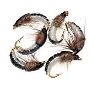 abordables -6 pcs Mouches leurres de pêche Mouches Vers Plumes Acier de charbon Matériel mixte Affaissé Pêche en mer Pêche à la mouche Pêche d'appât