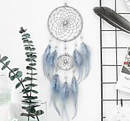 abordables -Boho dream catcher cadeau fait à la main tenture murale décor art ornement artisanat plume 2 cercle perle 46 * 11 cm pour enfants chambre mariage festival