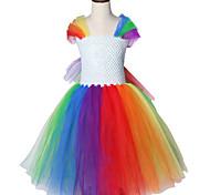 abordables -thème de la licorne arc en ciel petit modèle de poney col rond halloween princesse filles robes