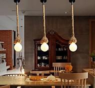 abordables -pendentif de corde de chanvre multifonction créatif vintage s'allume 1 lumière art bricolage salle à manger le café bar comptoir lustres longueur du cordon 100cm