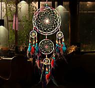 abordables -Boho dream catcher cadeau fait à la main tenture murale décor art ornement artisanat plume 5 cercles perle 50 * 13 cm pour enfants chambre festival de mariage