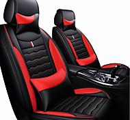 abordables -siège d'auto couvre appui-tête&kits de coussin de taille en cuir artificiel simili cuir noir / rouge / noir / blanc / noir / bleu