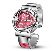 abordables -Femme Montre bracelet Analogique Quartz Forme de coeur Montre Décontractée Imitation diamant Adorable