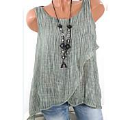 abordables -Femme Débardeur Couleur Pleine Grandes Tailles Dos Nu Maille Hauts Coton Bleu Rose Claire Vert Véronèse