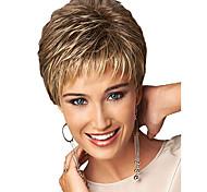 abordables -Perruque Synthétique Franges Bouclé Partie libre Perruque Court Or clair Cheveux Synthétiques 12 pouce Femme Homme Synthétique Dégradé de Couleur Blond
