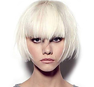 abordables -Perruque Synthétique Droit crépu Partie médiane Perruque Longue Blanche Cheveux Synthétiques 12 pouce Femme Dégradé de Couleur Blanc