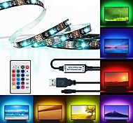 economico -BRELONG® 3M Strisce luminose RGB 90 LED 5050 SMD 10mm 1 telecomando da 24Keys 1pc Colori primari Impermeabile Accorciabile USB 5 V / Auto-adesivo