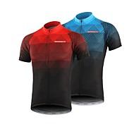 abordables -BERGRISAR Homme Manches Courtes Maillot Velo Cyclisme Polyester Noir / Rouge Orange Vert Pente Cyclisme Maillot Hauts / Top VTT Vélo tout terrain Vélo Route Respirable Séchage rapide Bandes
