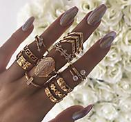 economico -Donna Anello a metà dito Zircone cubico Retrò Oro Diamanti d'imitazione Lega Forma di fiore Freccia Importante Vintage ▾ 13 pz 7 / Per donna / Set di anelli
