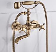 abordables -Robinet de baignoire - Antique Fileté Montage mural Soupape céramique Bath Shower Mixer Taps