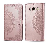 abordables -téléphone Coque Pour Samsung Galaxy Coque Intégrale Étui en cuir Etui folio J5 (2016) Porte Carte Clapet Couleur Pleine Dur faux cuir