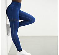 abordables -Femme Sportif Legging Couleur Pleine Taille haute Noir Bleu Rouge S M L