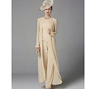 abordables -Tailleur-pantalon Robe de Mère de Mariée  Grande Taille Elégant Bateau Neck Longueur Sol Mousseline de soie Sans Manches avec Billes Appliques 2021