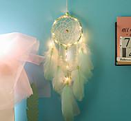 economico -acchiappasogni fatti a mano luci led decorazioni murali piuma 50 * 11 cm