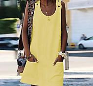 economico -Per donna Prendisole Mini abito corto Bianco Blu Giallo Arancione Senza maniche Tasche Estate Rotonda 2021 S M L XL XXL 3XL 4XL 5XL / Taglie forti