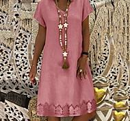 abordables -Femme Robe Droite Robe Longueur Genou Jaune Rose Claire Kaki Bleu clair Manches Courtes Eté Col en V chaud Simple S M L XL XXL 3XL 4XL