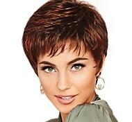 abordables -Perruque Synthétique Franges Bouclé Partie libre Perruque Court Marron / bordeaux Cheveux Synthétiques 12 pouce Femme Design à la mode Homme Synthétique Marron