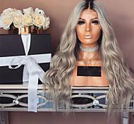 abordables -Perruque Synthétique Ondulation profonde Partie médiane Perruque Longue Grise Cheveux Synthétiques 28 pouce Femme Dégradé de Couleur Gris