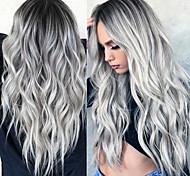 economico -parrucca sintetica ondulata parte centrale parrucca lunga grigio / rosa / marrone / verde / vino capelli sintetici donne di design alla moda da 24 pollici