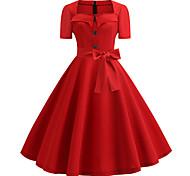 economico -Audrey Hepburn A pois Vestiti Retrò vintage Stile anni '50 vestito da vacanza Vestiti Vestito da Serata Elegante Abito a-line Abito da tè Per donna Costume Rosso / Bianco / Nero / Rosso Vintage ▾