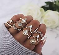 economico -Anello Oro Cristalli Lega 10 pezzi / Per donna / Set di anelli