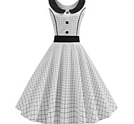 economico -Audrey Hepburn A pois Vestiti Retrò vintage Stile anni '50 vestito da vacanza Vestiti Vestito da Serata Elegante Abito a-line Abito da tè Per donna Costume Rosso / Bianco / Nero / Rosso / Bianco
