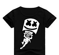 economico -Bambino Bambino (1-4 anni) Da ragazzo T-shirt Manica corta Con stampe Con stampe Bianco Nero Blu Cotone Bambini Top Essenziale