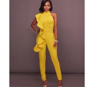 abordables -Combinaison-pantalon Femme Dos Nu Couleur Pleine Licou Basique Blanche Noir Jaune Bleu Roi S M L XL