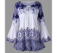 economico -Per donna Taglie forti Blusa Camicia Fantasia floreale Stampe astratte Manica lunga annodata Con stampe Rotonda Top Elegante Top basic Nero Blu Viola
