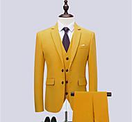 abordables -Blanche / Noir / Jaune Couleur Pleine Coupe Slim Coton Costume - Cranté Droit 2 boutons