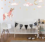 abordables -1pc licorne auto-adhère au mur pour décorer les stickers muraux de la maison de la princesse 53 * 30cm