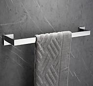economico -portasciugamani da bagno rettangolo in metallo da parete appendiabiti da bagno singolo lucido argenteo 1 pz