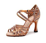 abordables -Chaussures Latines Salon Chaussures de Salsa Danse en ligne Femme Cristal / strass Talon Mince haut talon Noir Marron Lanière de cheville