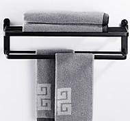 abordables -espace sans perforation étagère de salle de bain en aluminium porte-serviettes pliable mural 2 niveaux noir mat