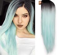 abordables -Perruque Synthétique Droit Jenner Coupe Lutin Perruque Longue Vert Menthe Cheveux Synthétiques 26 pouce Femme Ajustable Résistant à la chaleur Faciliter l'habillage Vert A Ombre