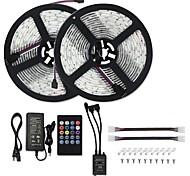 economico -KWB 2x5m Strisce luminose LED flessibili Set luci Strisce luminose RGB 600 LED SMD5050 10mm 1 adattatore 12V 6A 1Impostare la staffa di montaggio Music Sound Controller a 20 tasti 1 set Colori primari