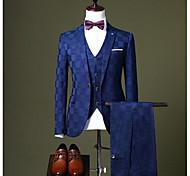 abordables -Noir / Rouge Bordeaux / Bleu Roi À carreaux Coupe Sur-Mesure Polyester Costume - Cranté Droit 1 bouton