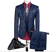 abordables -Noir / Marine foncé Avec motifs Coupe Slim Polyester Costume - Cranté Droit 2 boutons / costumes