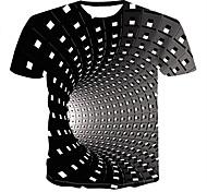 abordables -Homme Unisexe Tee T-shirt 3D effet Graphique 3D Print Grandes Tailles Manches Courtes Soirée Hauts Chic de Rue Punk et gothique Col Rond Bleu Violet Rouge / Eté
