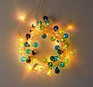 economico -2m Strisce luminose LED flessibili Fili luminosi 20 LED 1 set Bianco caldo Decorazione di nozze di Natale Batterie alimentate